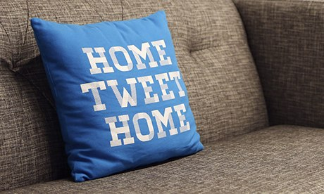 'Home Tweet Home' pillow on a couch at Twitter HQ in San Francisco
