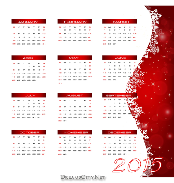 تقويم 2015 احمر