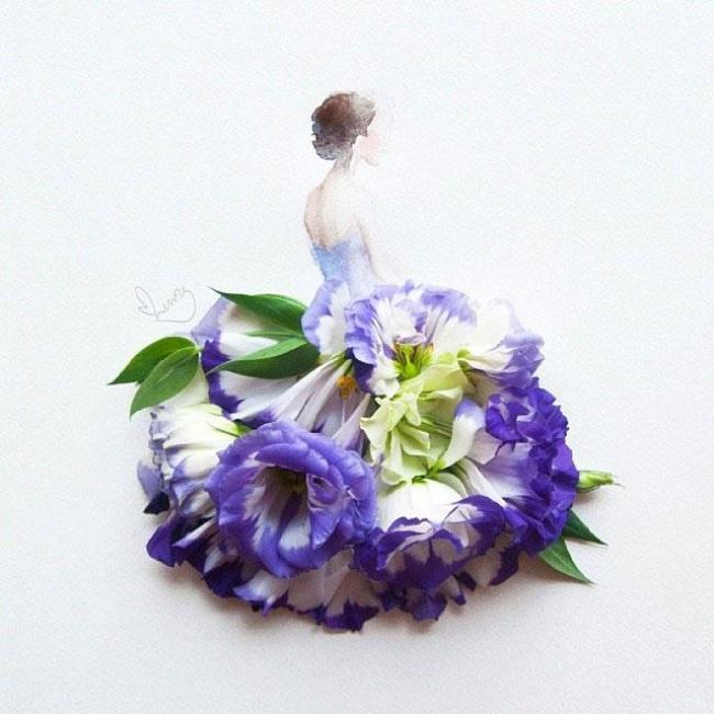 بالصور : دمج الزهور مع الرسومات التشكيلية