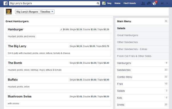 قوائم الطعام (menu ) في صفحات الفيس بوك قريباً